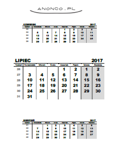 kalendarz do druku lipiec 2017, calendar for printing july 2017