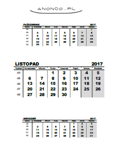 kalendarz do druku listopad 2017, calendar for printing november 2017